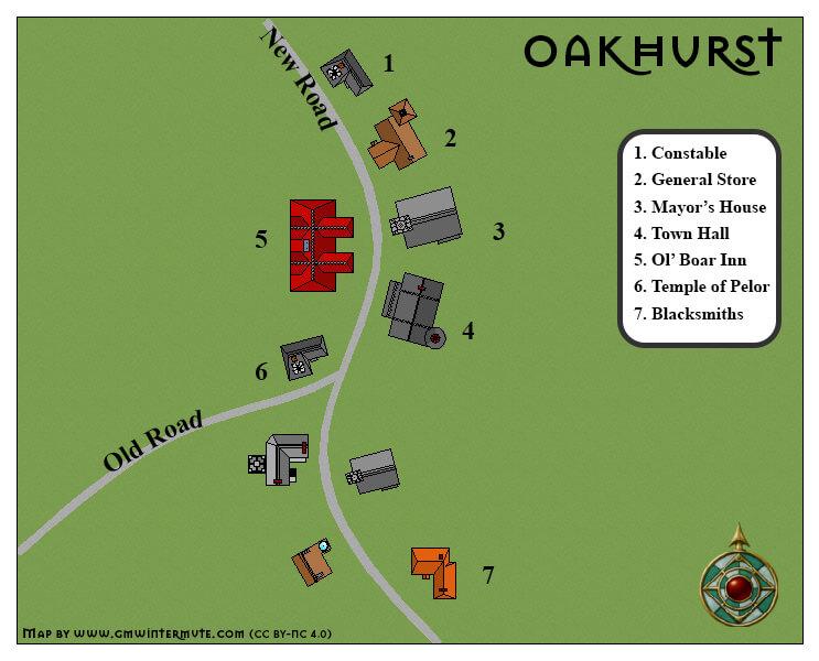 Map of Oakhurst for the Sunless Citadel | GM Wintermute Citadel Map on